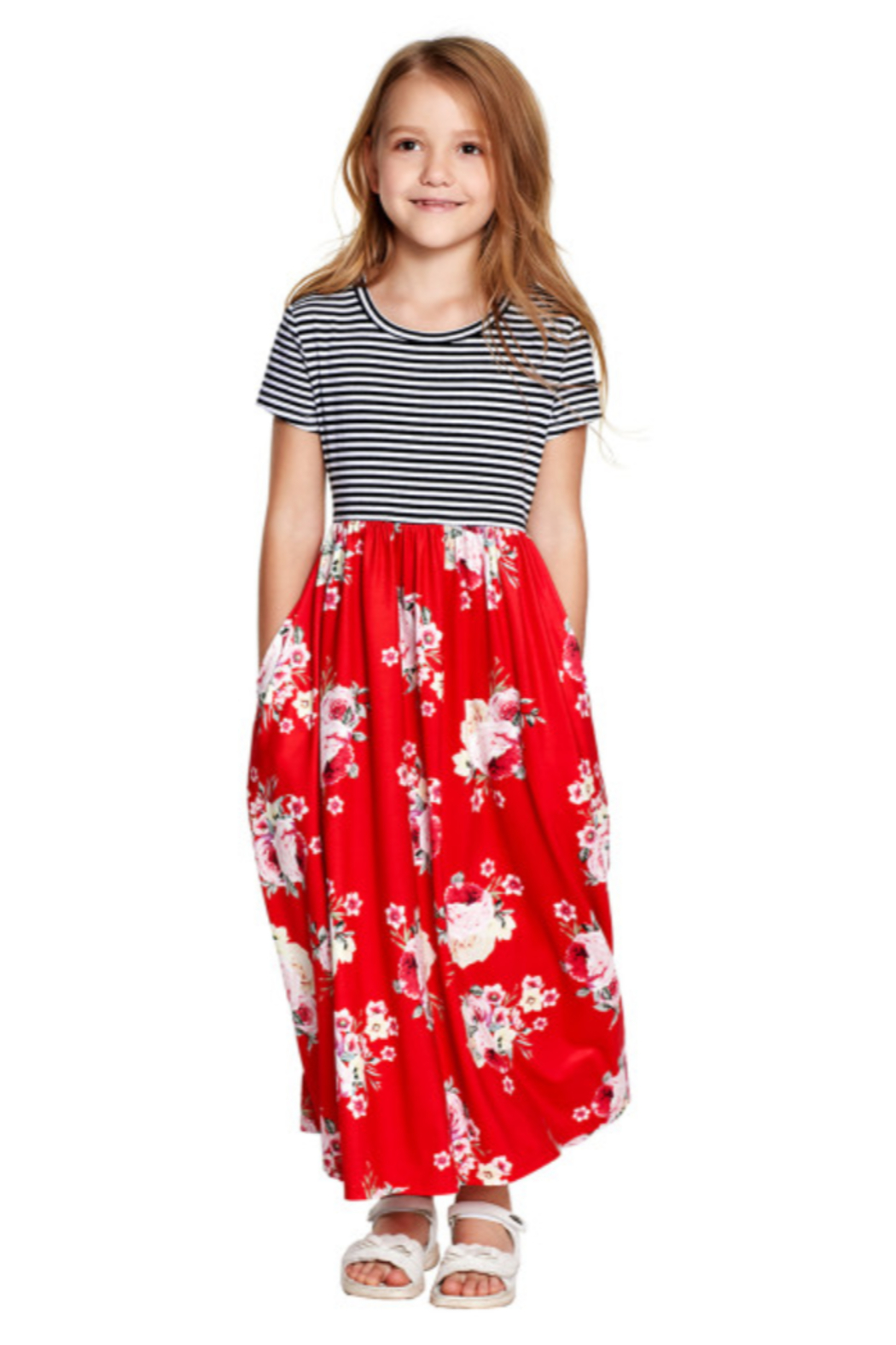 The Emerald Fox Boutique Red Striped Floral Print Little Girls Maxi Dress - Main Image