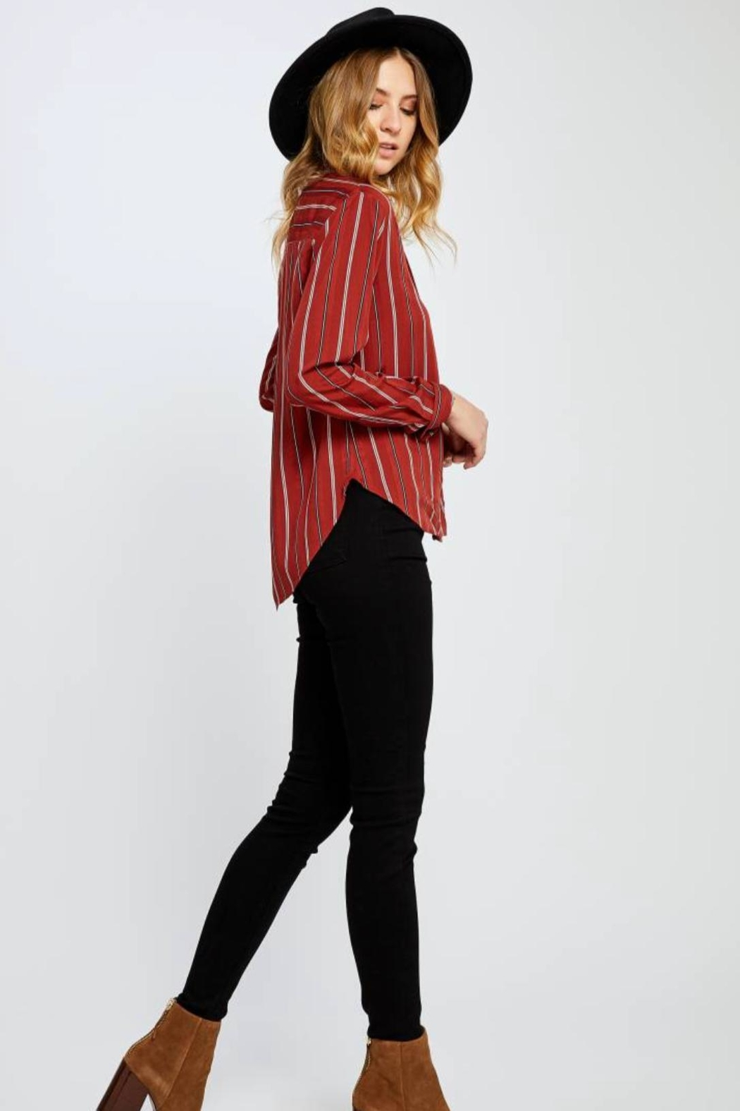 Gentle Fawn Red Stripped Woven - Front Full Image