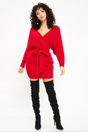 Latiste Red Sweater Wrap-Dress - Product Mini Image