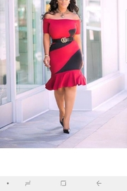 MODChic Couture Red Swirl Dress - Front full body