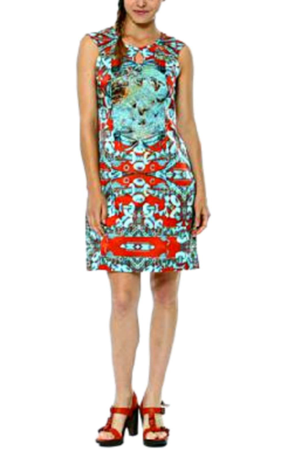 Aventures Des Toiles Red/Teal Carnival Silk Sheath Dress - Main Image