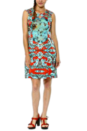 Aventures Des Toiles Red/Teal Carnival Silk Sheath Dress - Product Mini Image