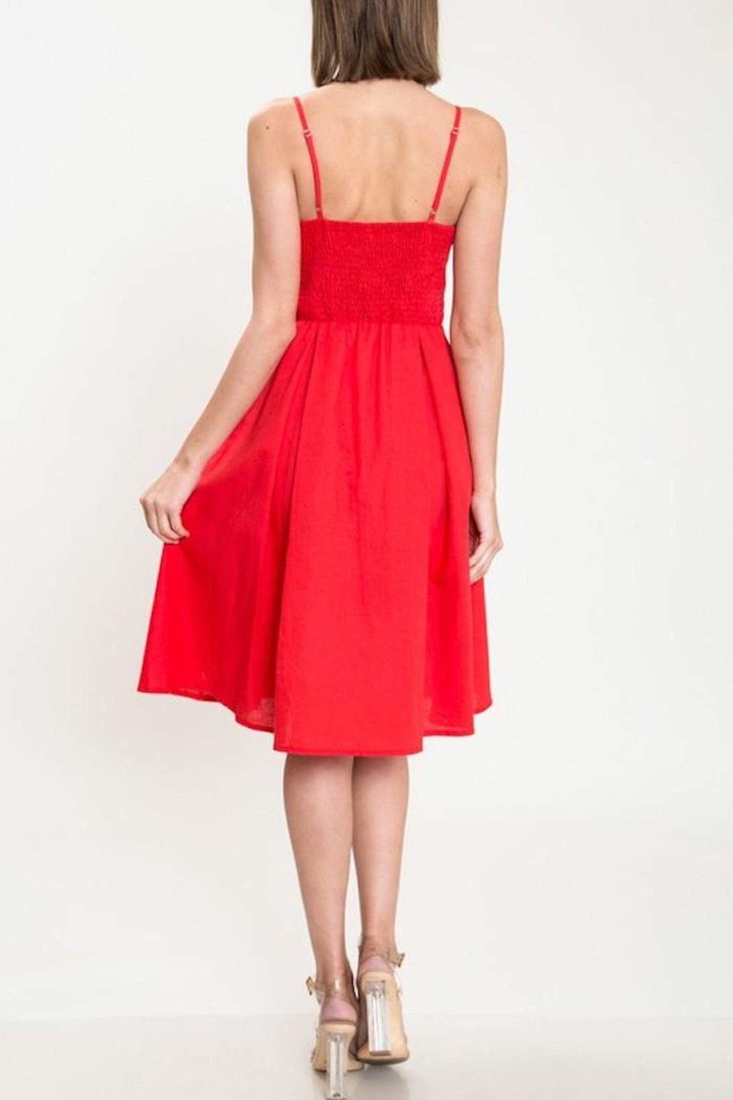 Latiste Red Tie-Front Dress - Side Cropped Image