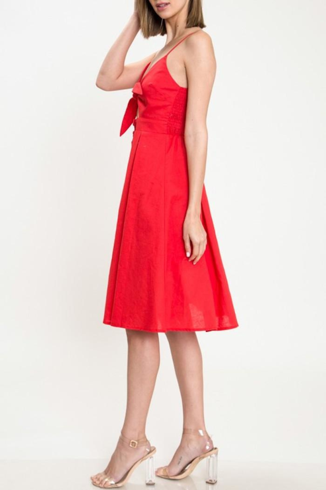 Latiste Red Tie-Front Dress - Front Full Image