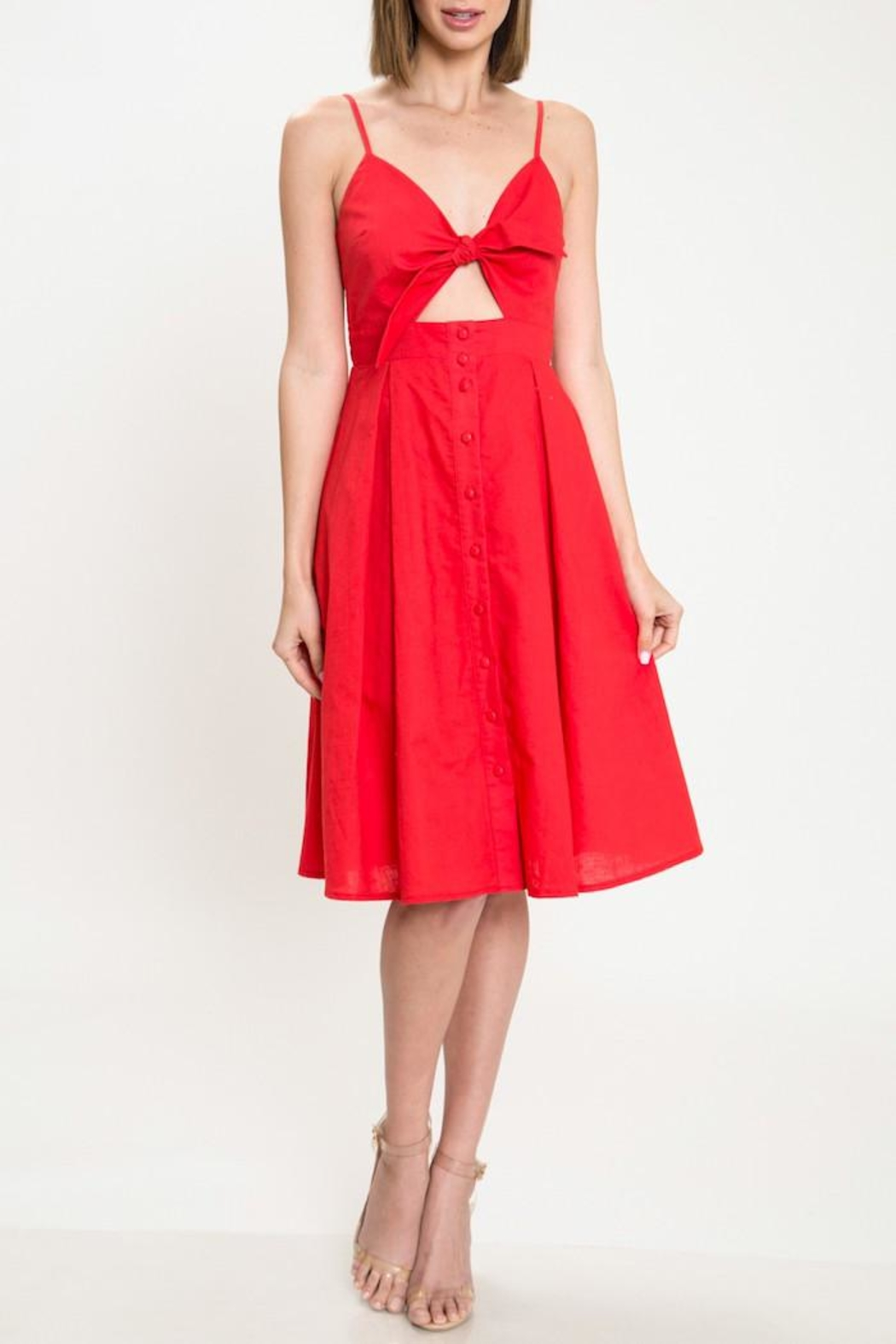 Latiste Red Tie-Front Dress - Main Image
