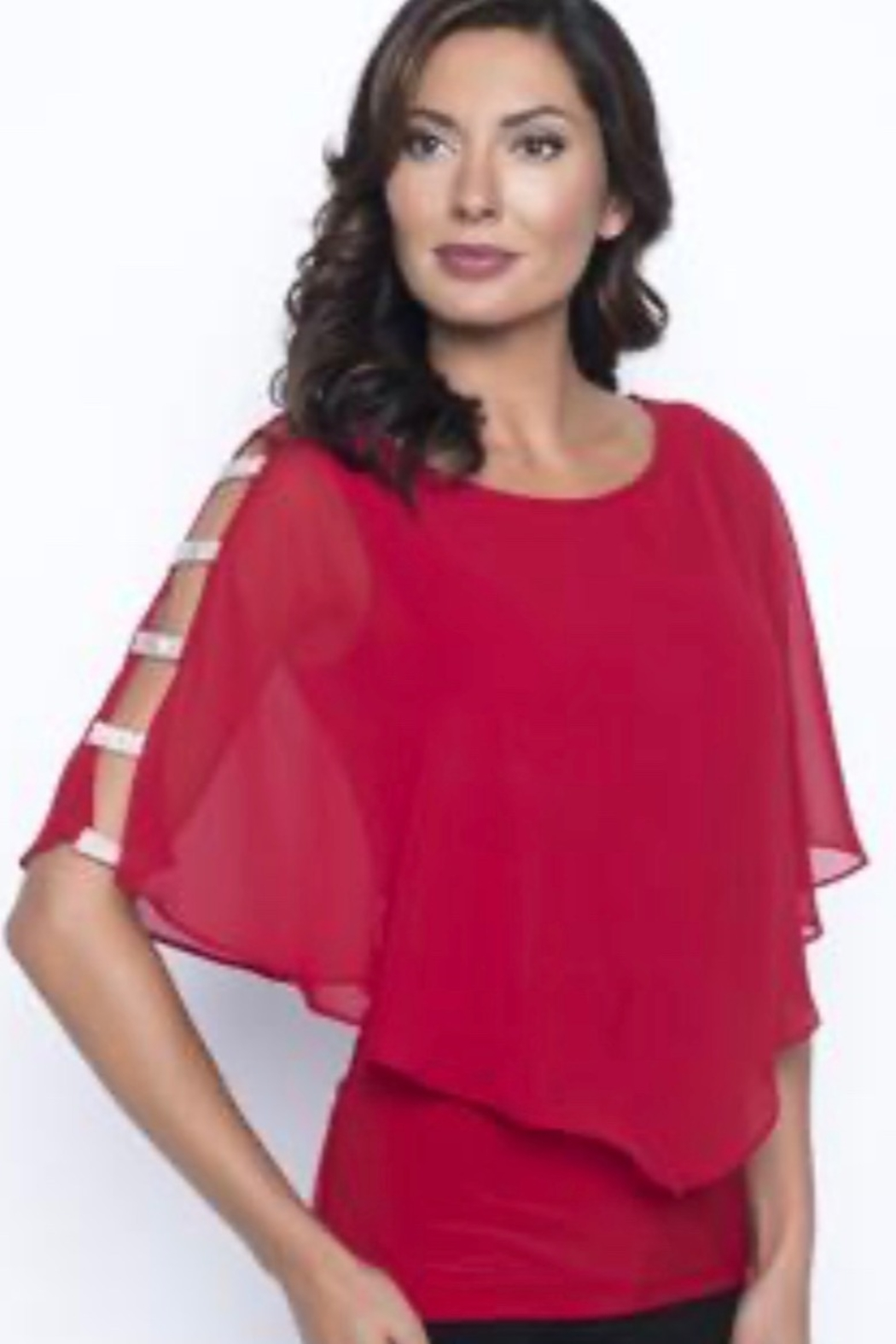 Frank Lyman Red top with short overlay cape with rhinestone detail - Main Image