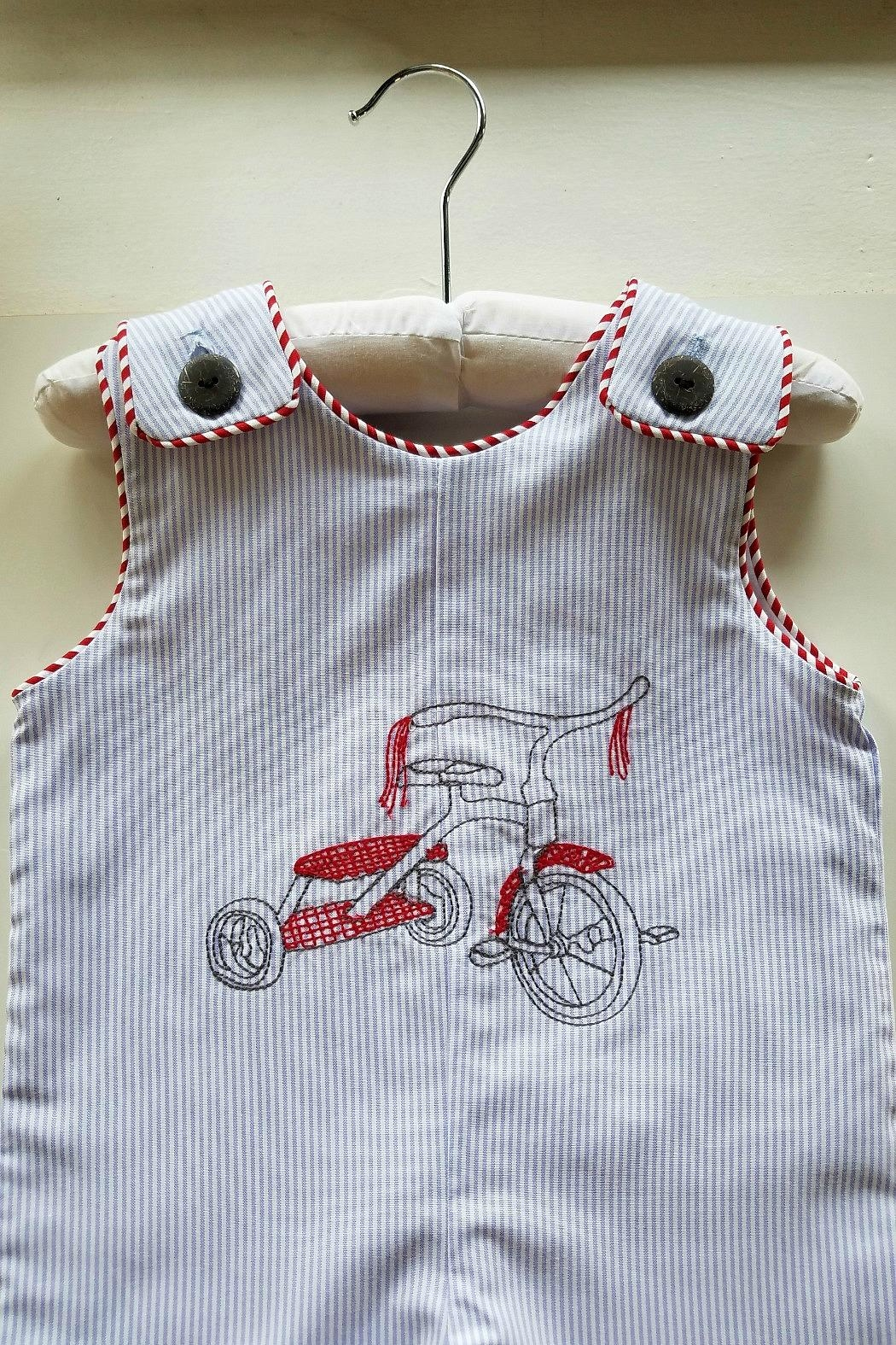 La Jenns Red-Tricycle-Embroidered-Jon-Jon - Front Full Image