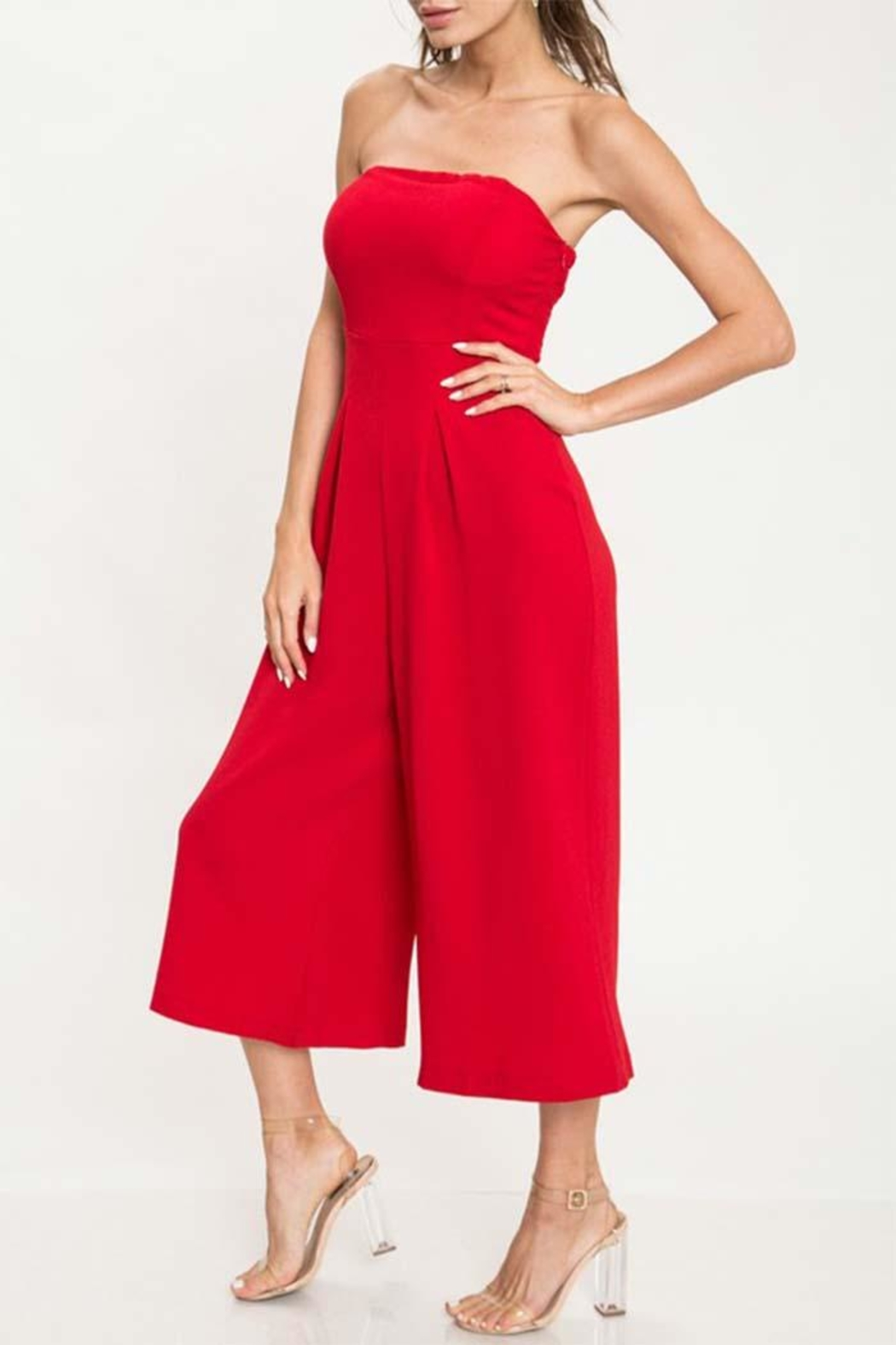 L'atiste Red Tube Jumpsuit - Front Full Image
