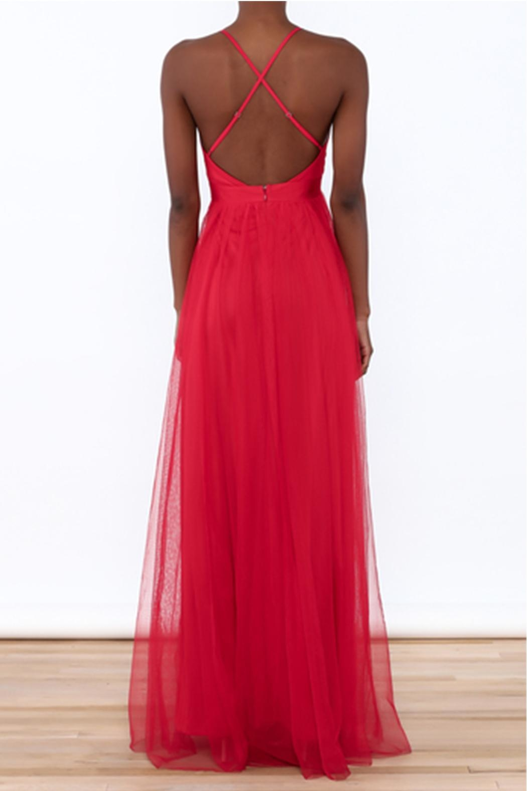 luxxel Red Tulle Maxi - Front Full Image