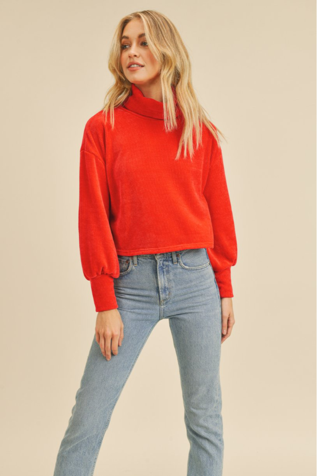 If She Loves Red Turtleneck Sweater - Main Image