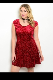 Bo Bel Red Velvet Dress - Product Mini Image