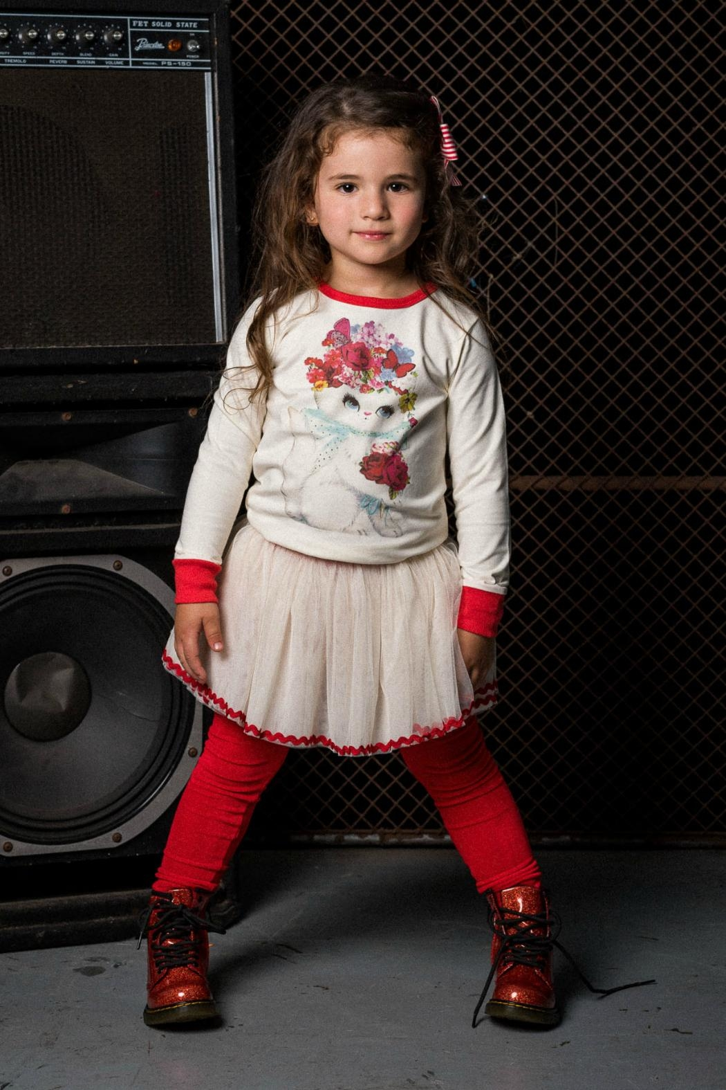 Rock Your Baby Red Velvet Leggings - Front Full Image