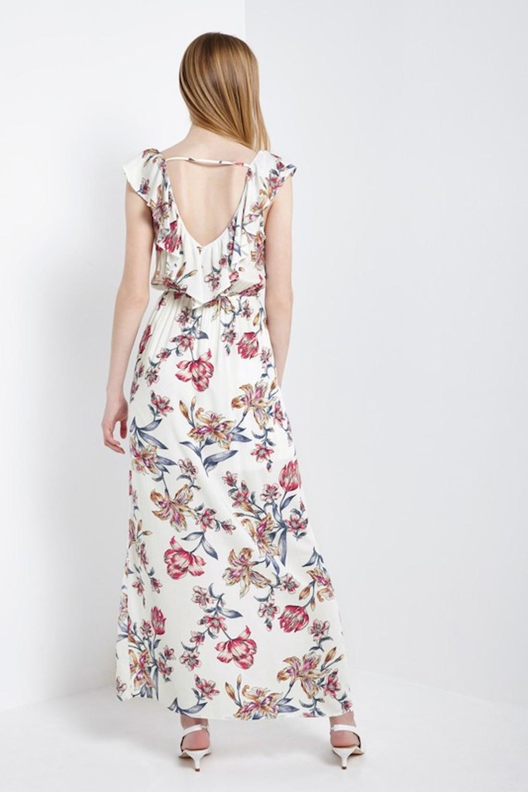 Soprano Red-White-&-Blue Floral Maxi - Back Cropped Image