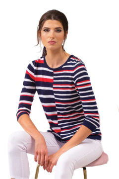 Alison Sheri Red, White Blue Summer Sweater - Product List Image