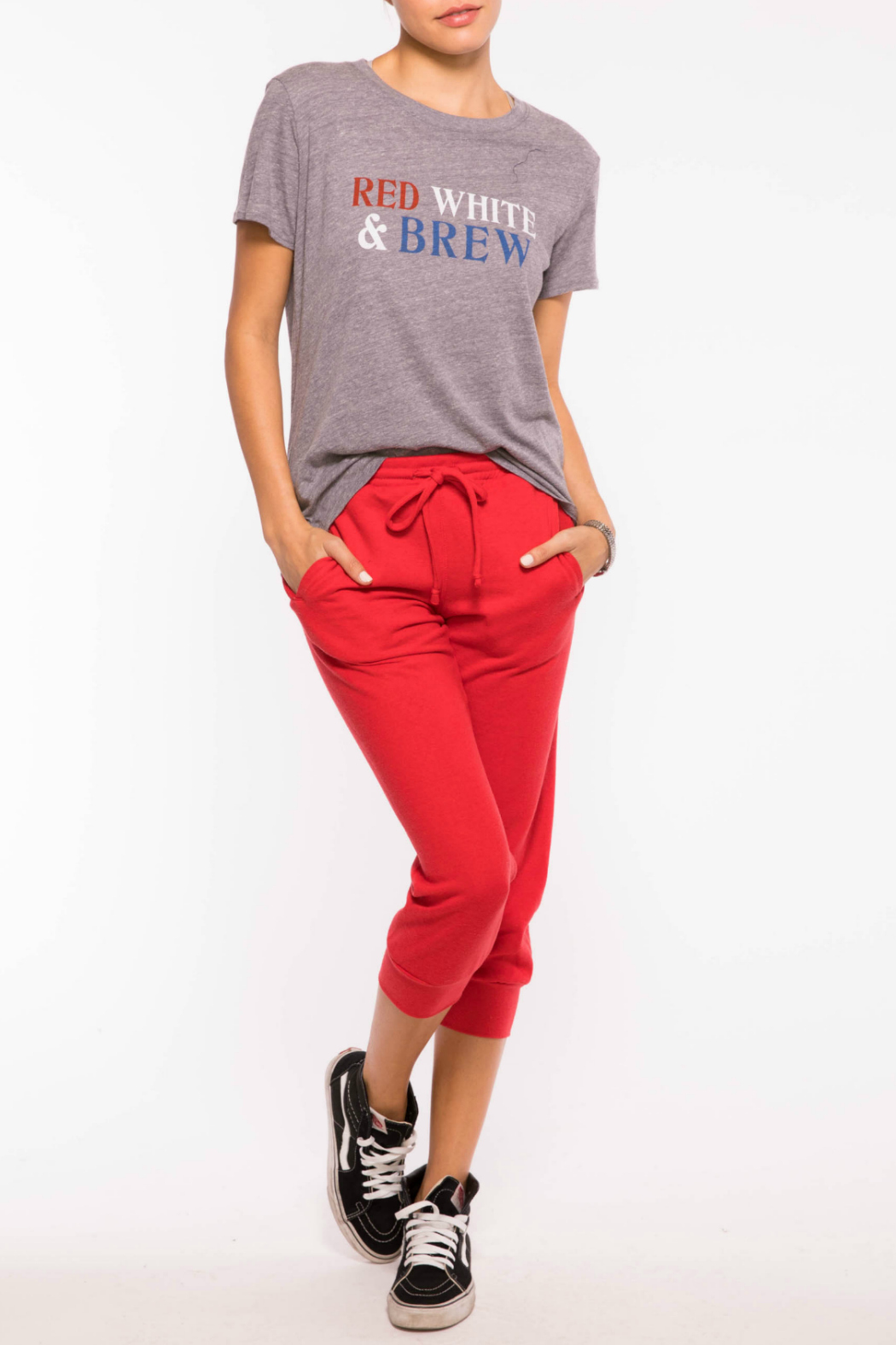 Suburban riot Red White Brew Tee - Front Full Image