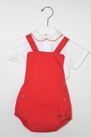 Dolce Petit Red & White Romper - Front cropped