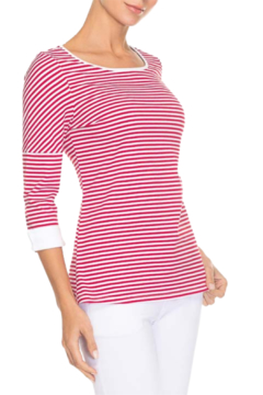 Alison Sheri Red/White Striped Tee - Alternate List Image