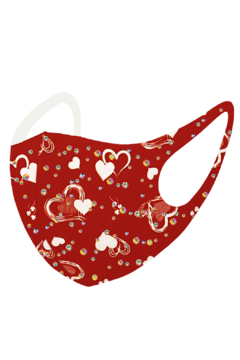 Petunias of Naples Red with White Hearts Mask - Alternate List Image