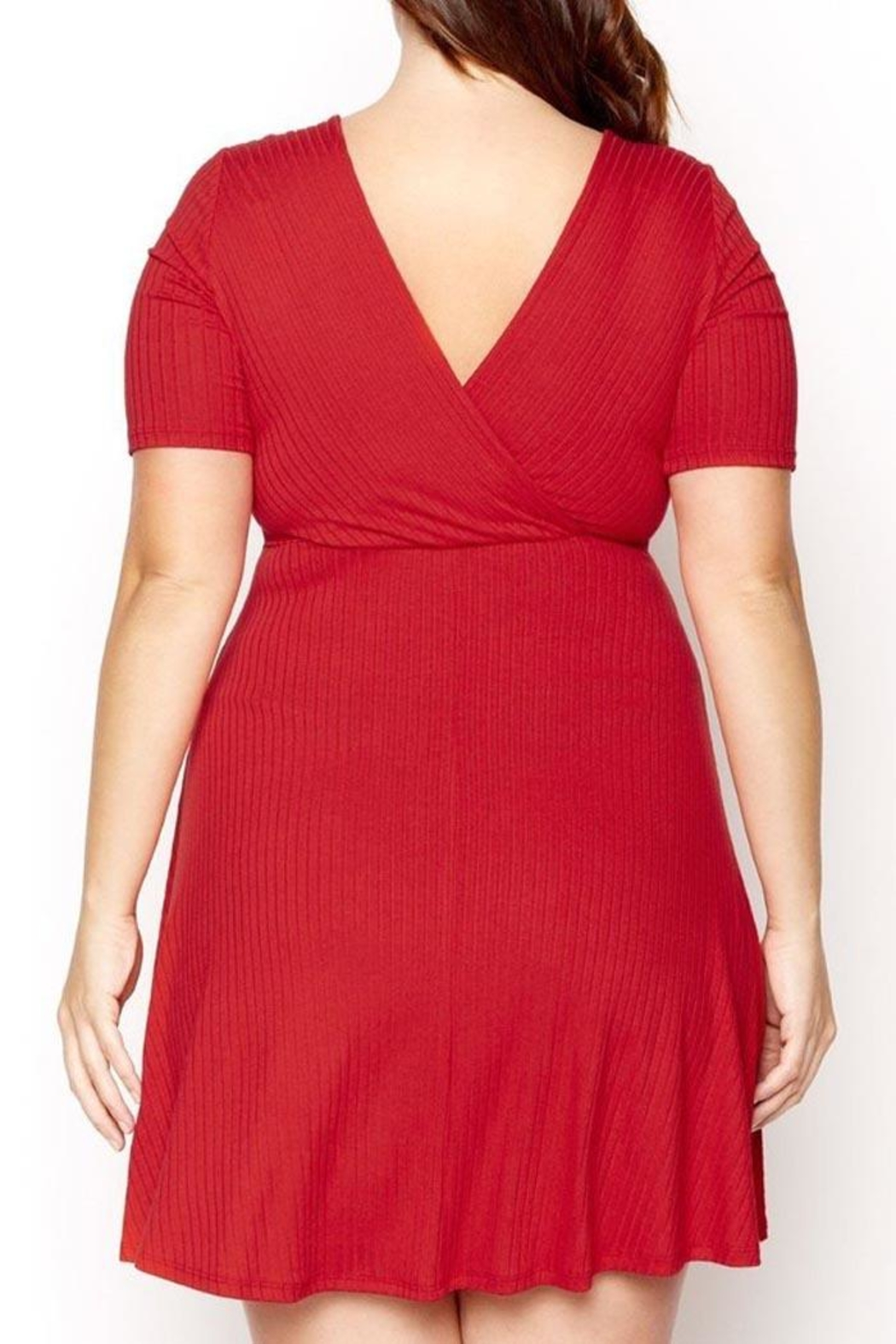 Mai Tai Red Wrap Dress - Side Cropped Image
