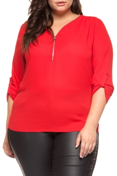 942ddcd5733afd Dex Red Zipper Blouse - Alternate List Image ...