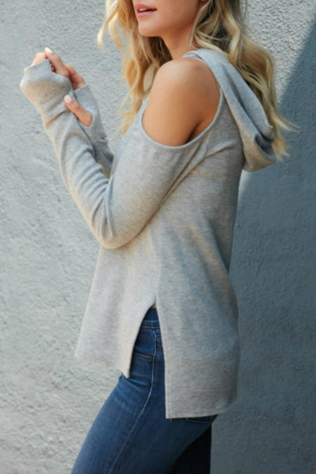 Red Haute Cold Shoulder Hoodie - Front Full Image