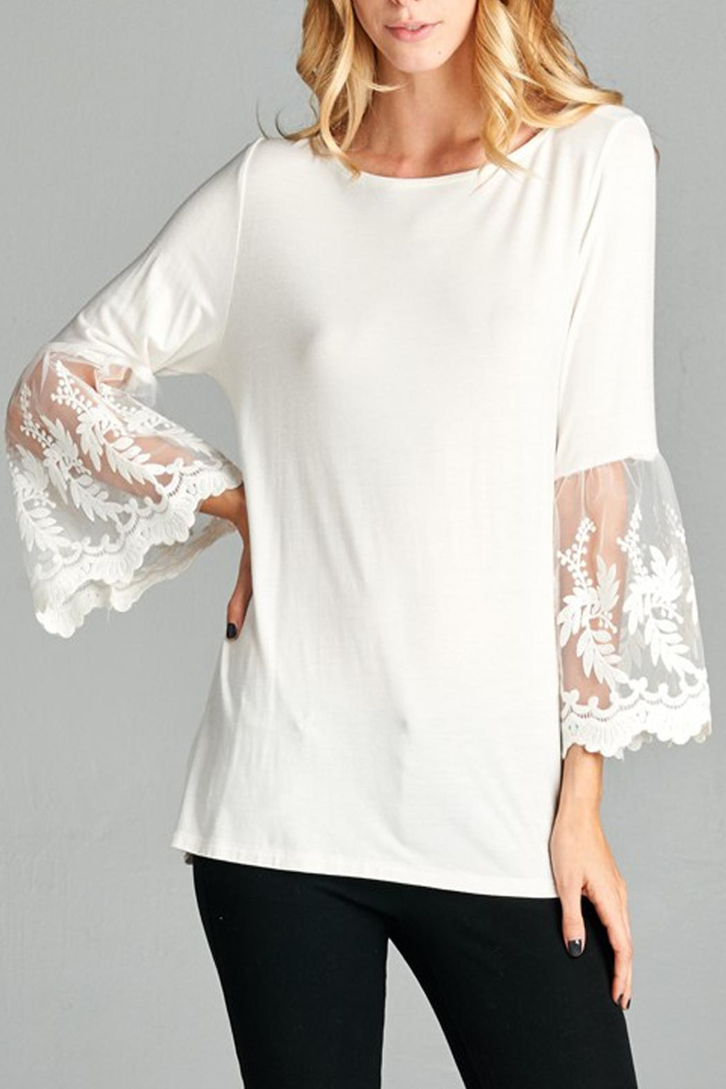 Red Lolly Bell Sleeve Top - Front Cropped Image