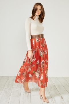 Urban Touch Redfloral Pleated Midiskirt - Product List Image