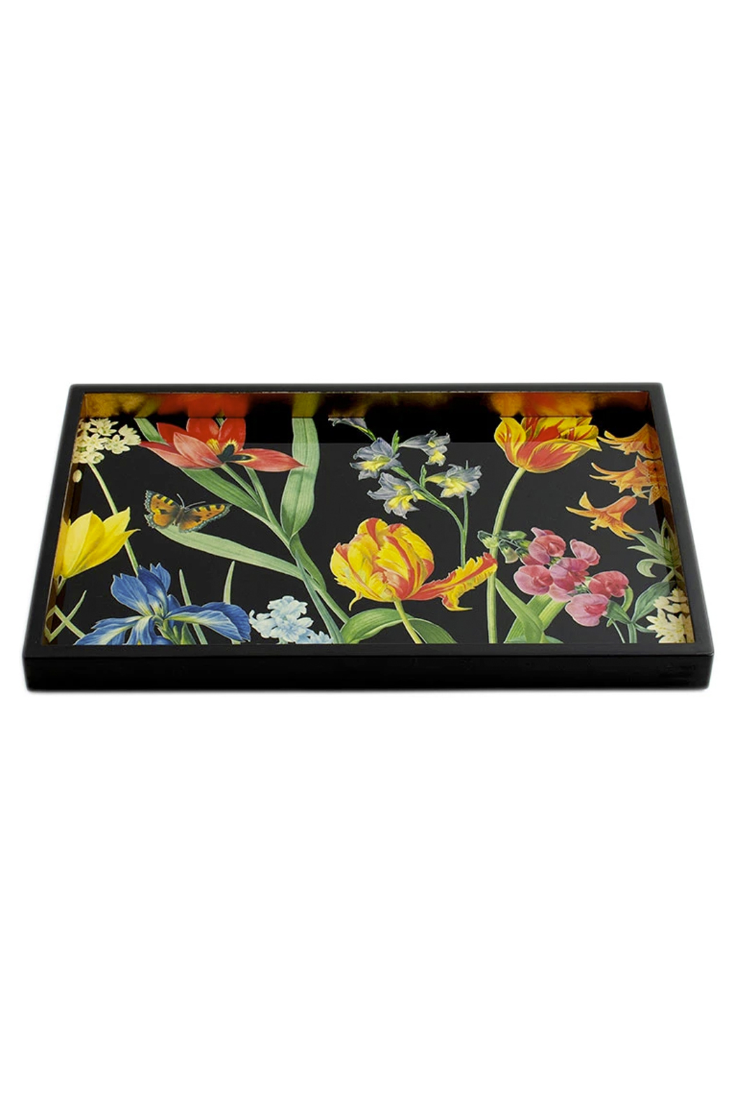 Caspari Redoute Floral Lacquer Vanity Tray - Side Cropped Image