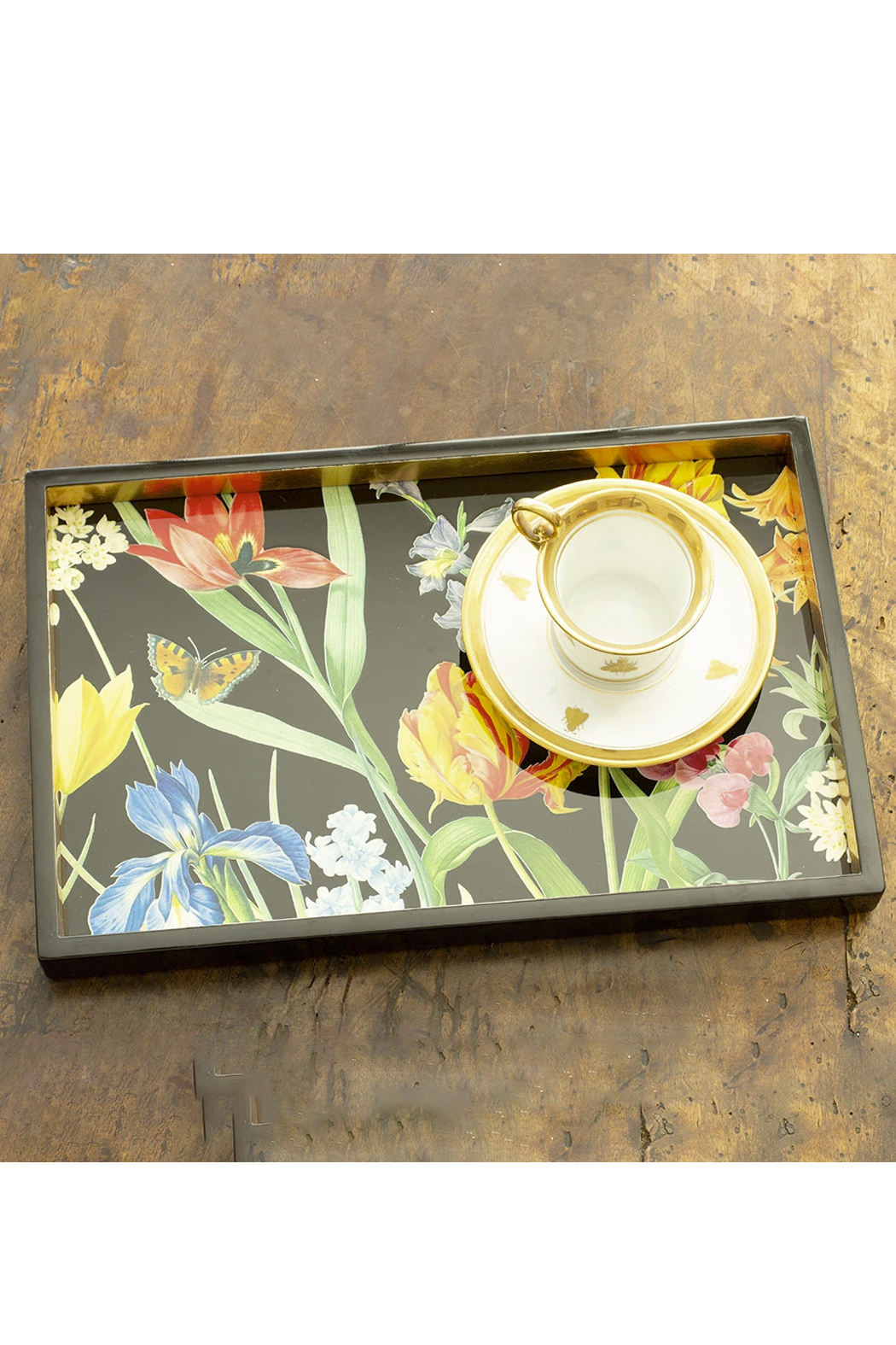 Caspari Redoute Floral Lacquer Vanity Tray - Back Cropped Image