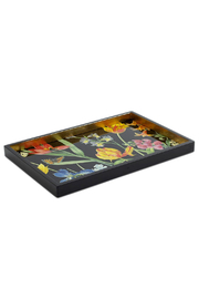 Caspari Redoute Floral Lacquer Vanity Tray - Front cropped