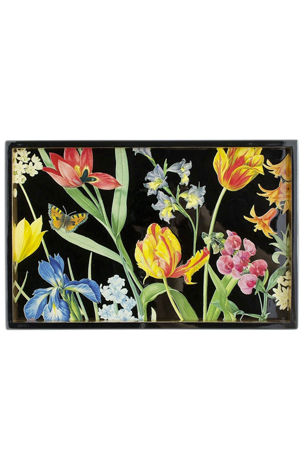 Caspari Redoute Floral Lacquer Vanity Tray - Front Full Image