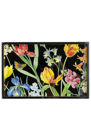Caspari Redoute Floral Lacquer Vanity Tray - Front full body