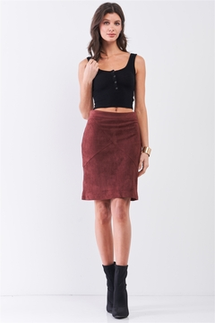 Sugar Lips Redwood Faux Suede High-Waisted Asymmetrical Stitch Midi Skirt - Product List Image
