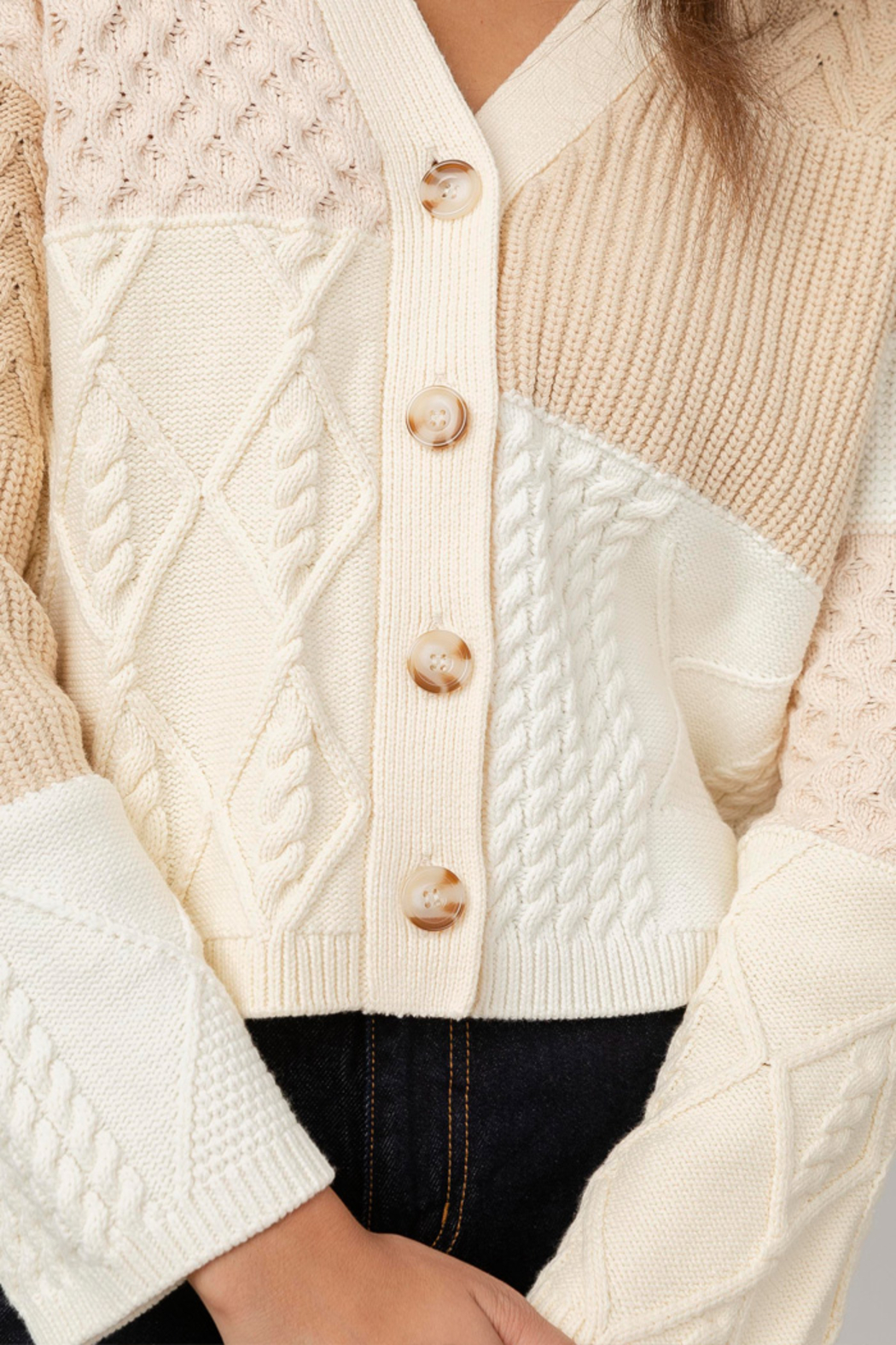 Rails Clothing Reese Patchwork Cable Cardigan - Back Cropped Image