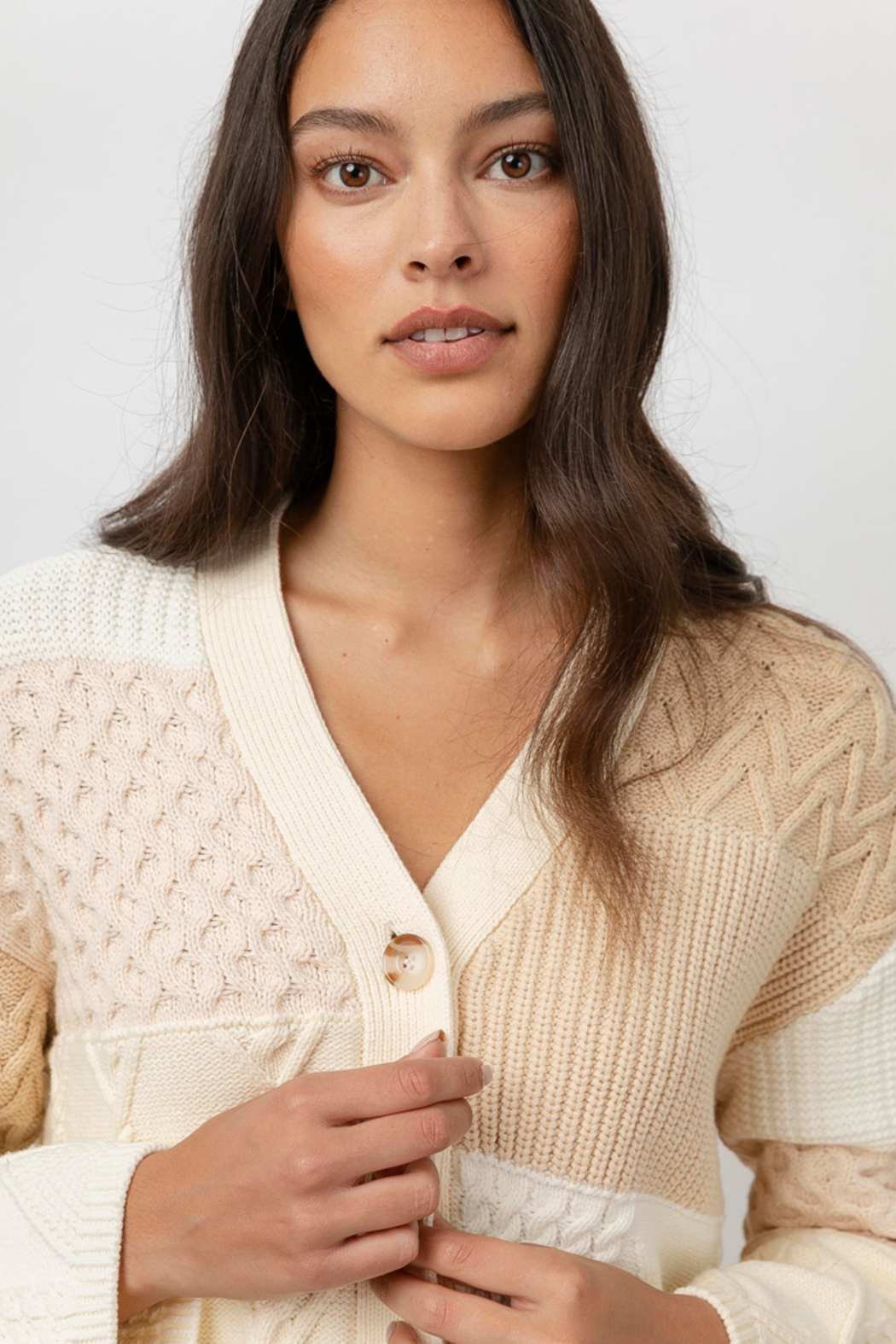 Rails Clothing Reese Patchwork Cable Cardigan - Side Cropped Image