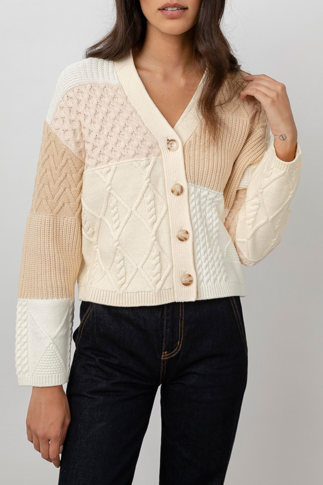 Rails Clothing Reese Patchwork Cable Cardigan - Main Image