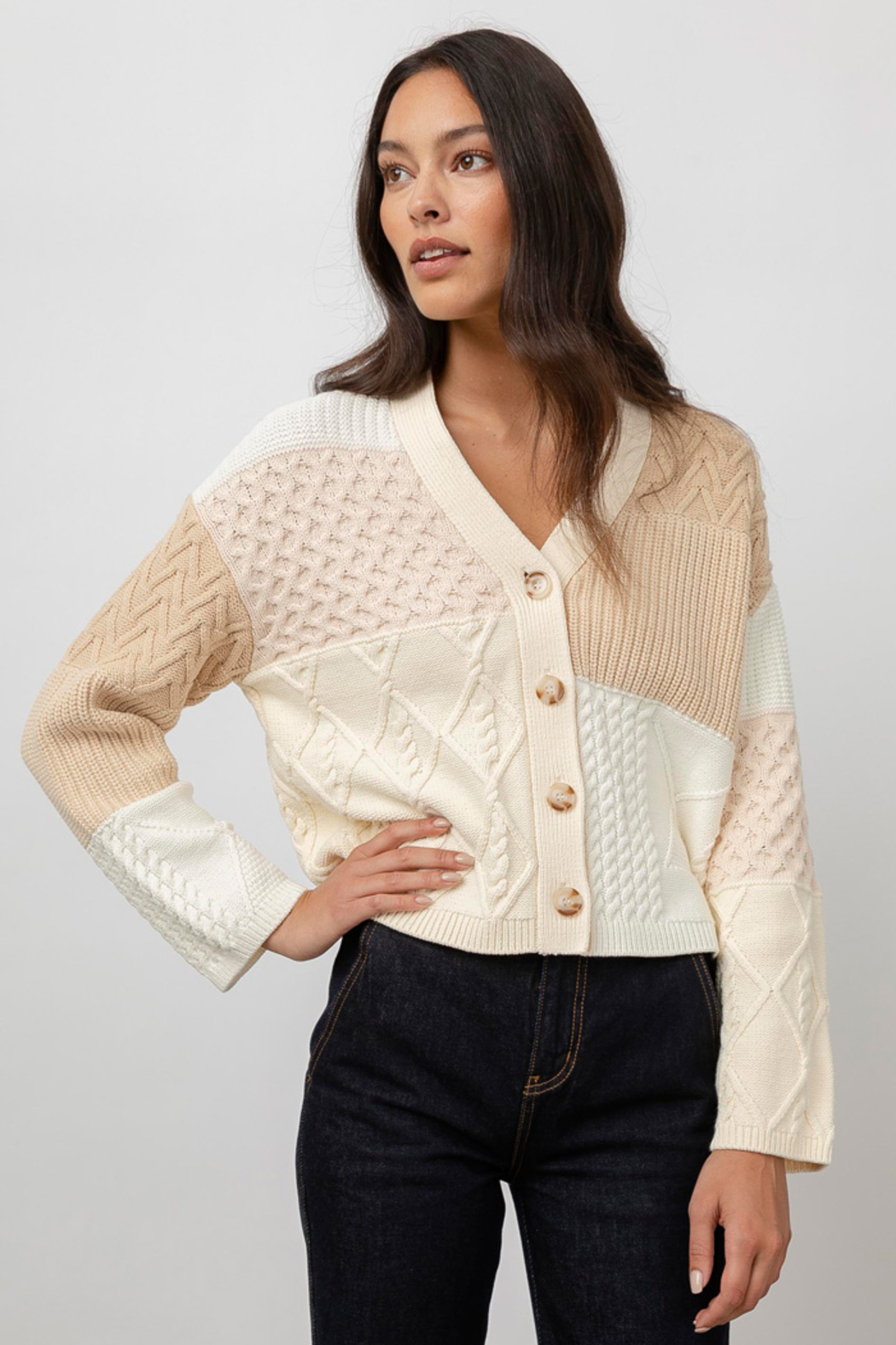 Rails Clothing Reese Patchwork Cable Cardigan - Front Full Image