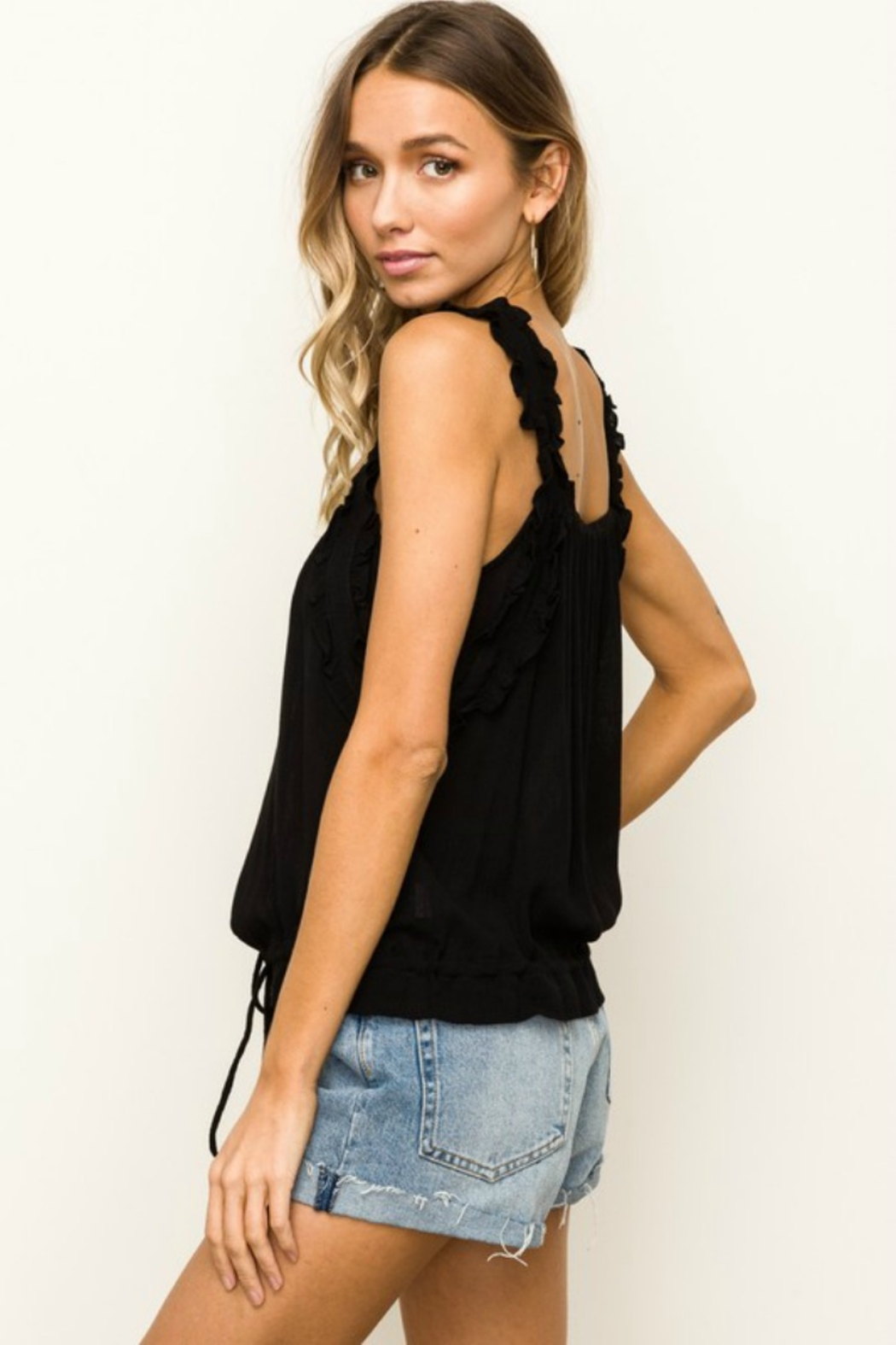 Hem & Thread Reese Ruffle Tank - Side Cropped Image