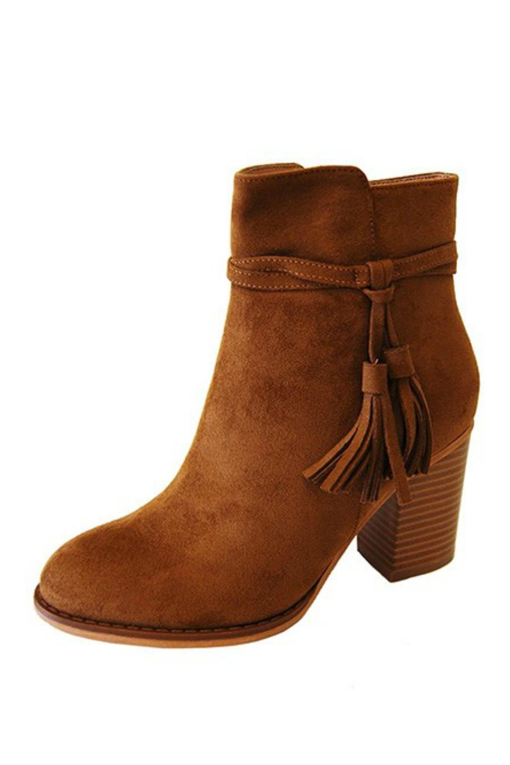 Refresh Tan Heel Bootie - Front Cropped Image