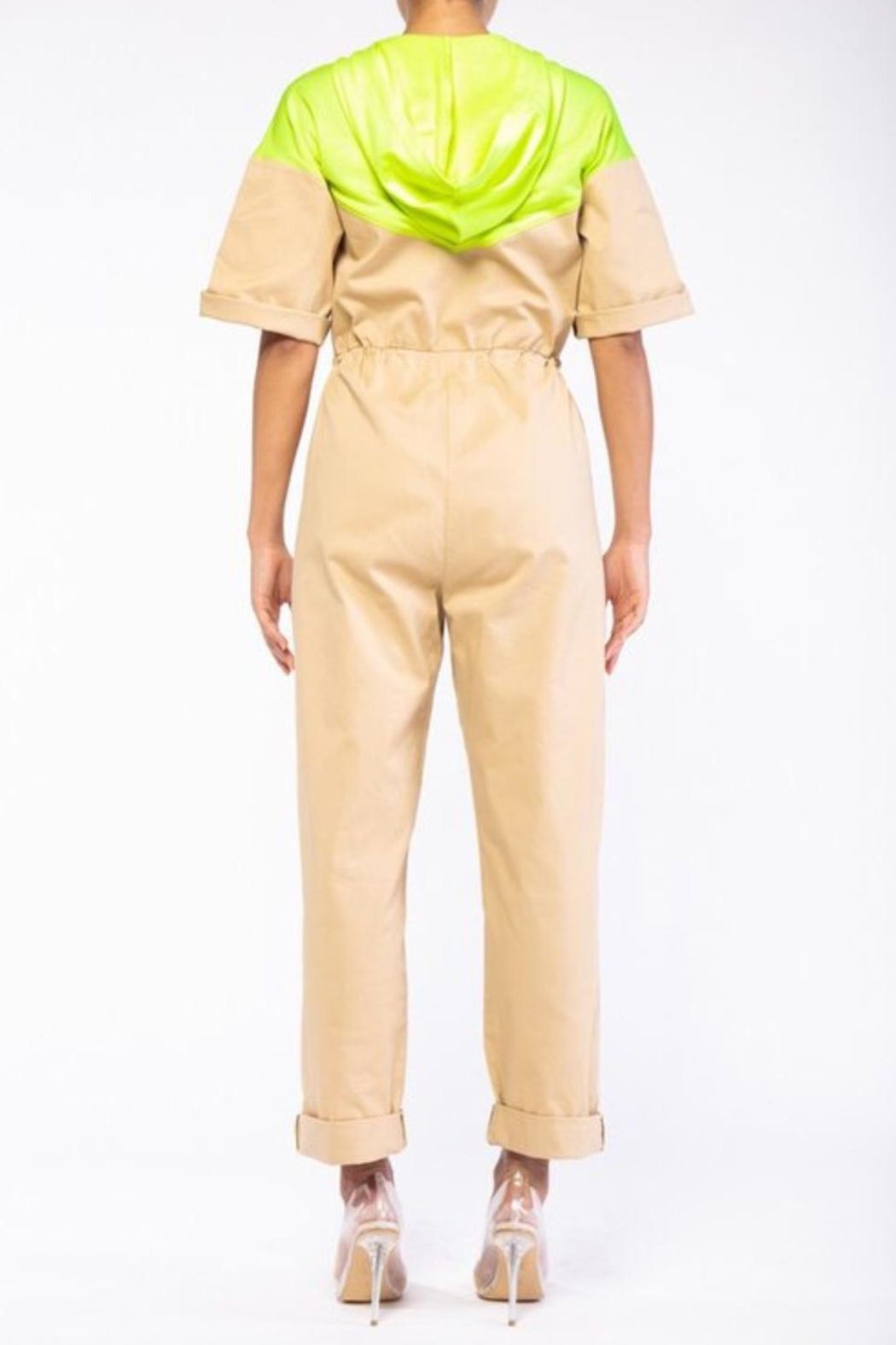 Rehab Beige & Yellow Coveralls - Front Full Image