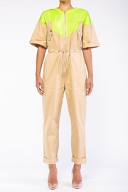 Rehab Beige & Yellow Coveralls - Front cropped
