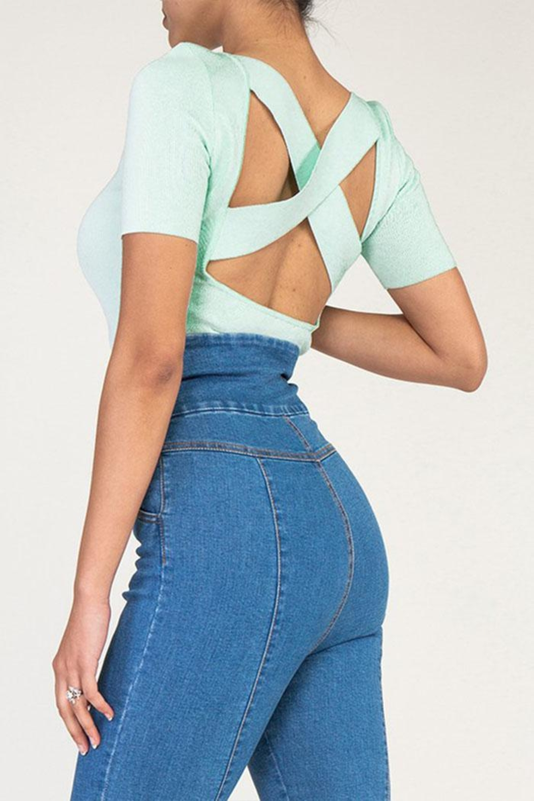 Rehab Cutout Crop Top - Back Cropped Image