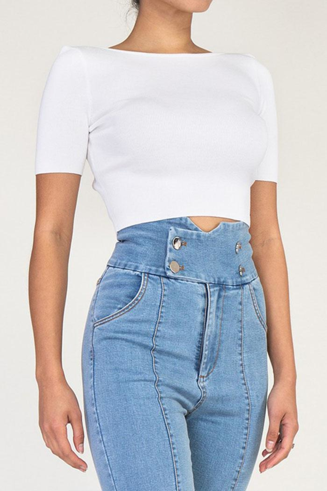 Rehab Cutout Crop Top - Front Full Image