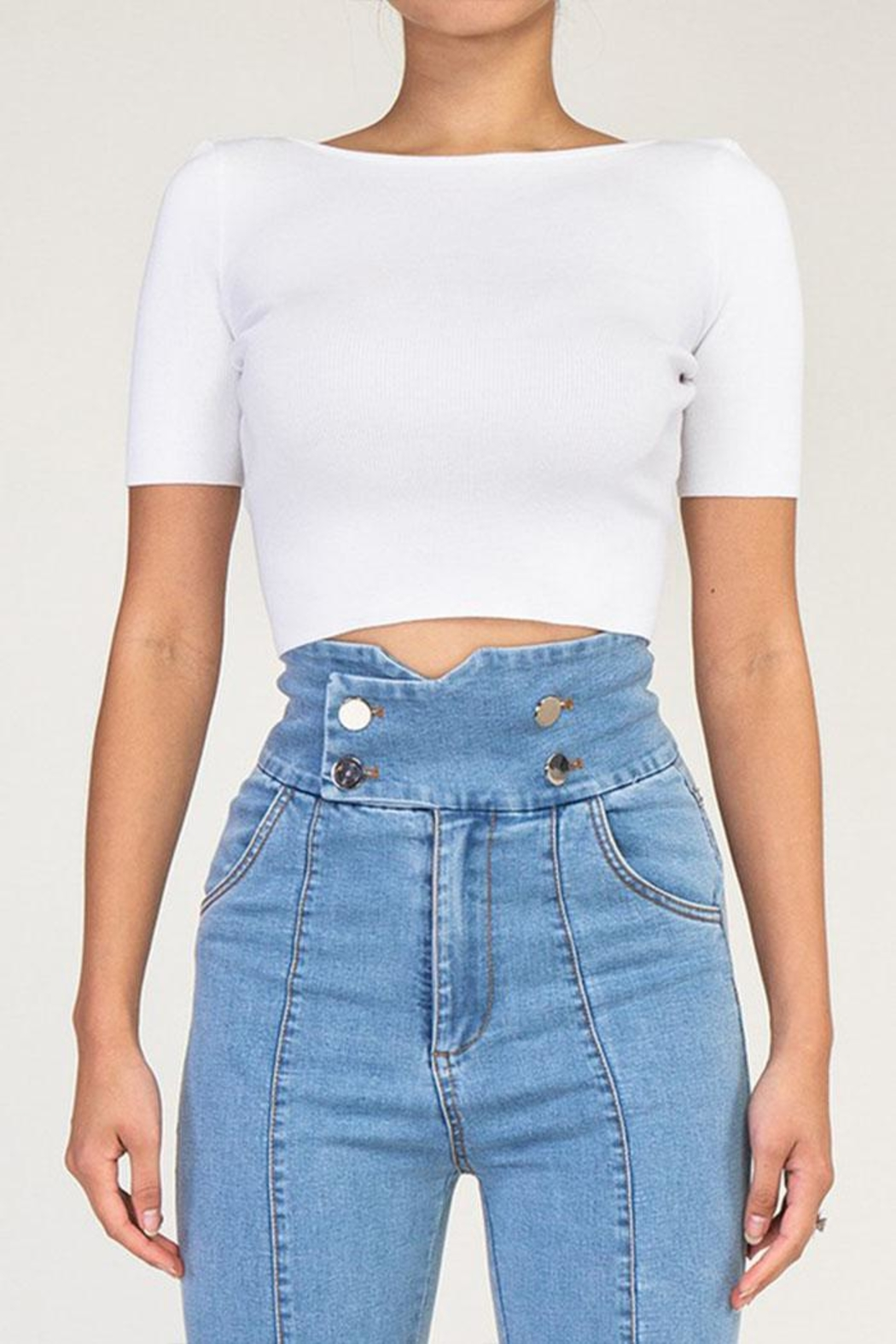 Rehab Cutout Crop Top - Front Cropped Image