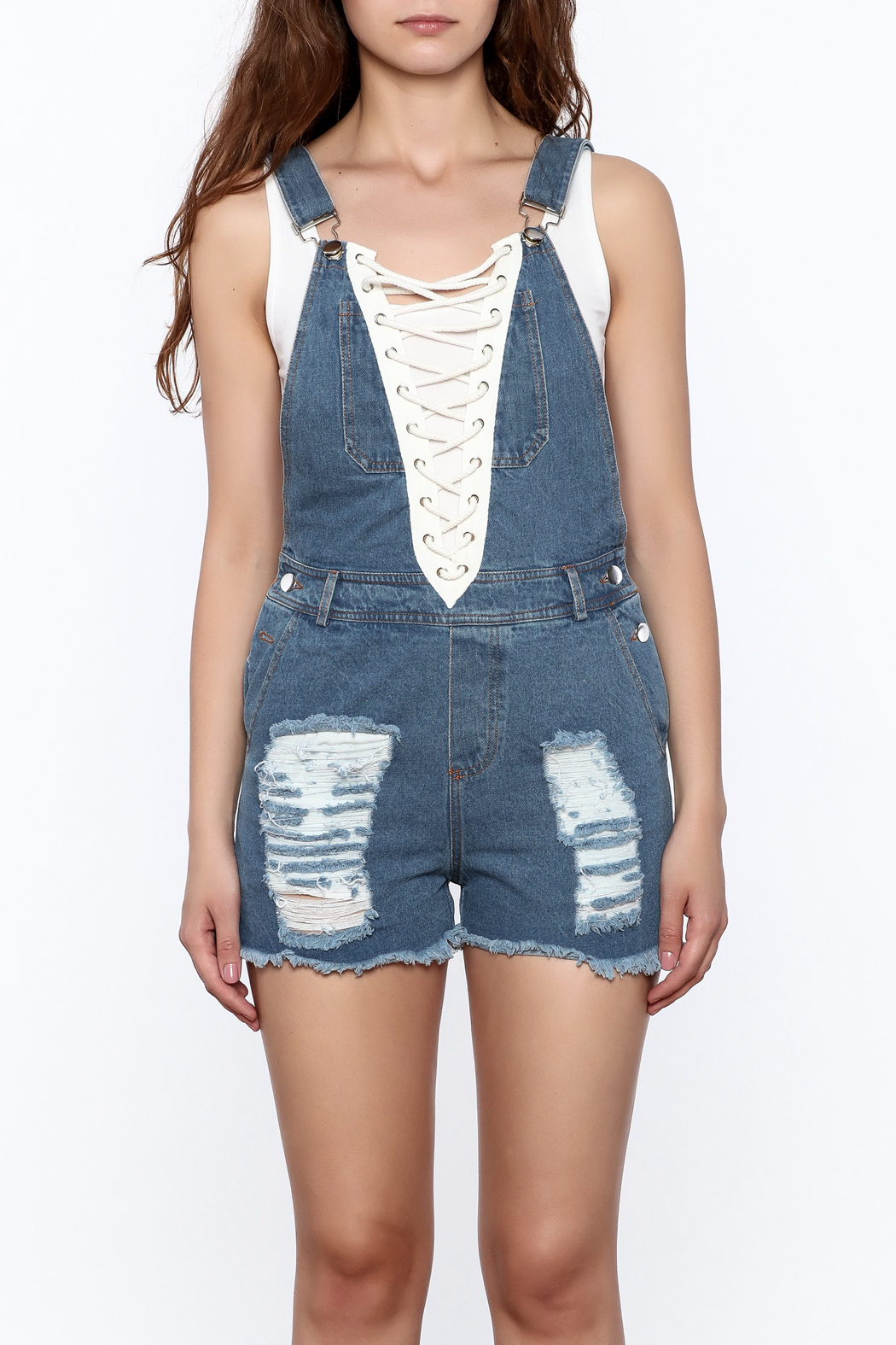 Rehab Denim Short Overall - Side Cropped Image