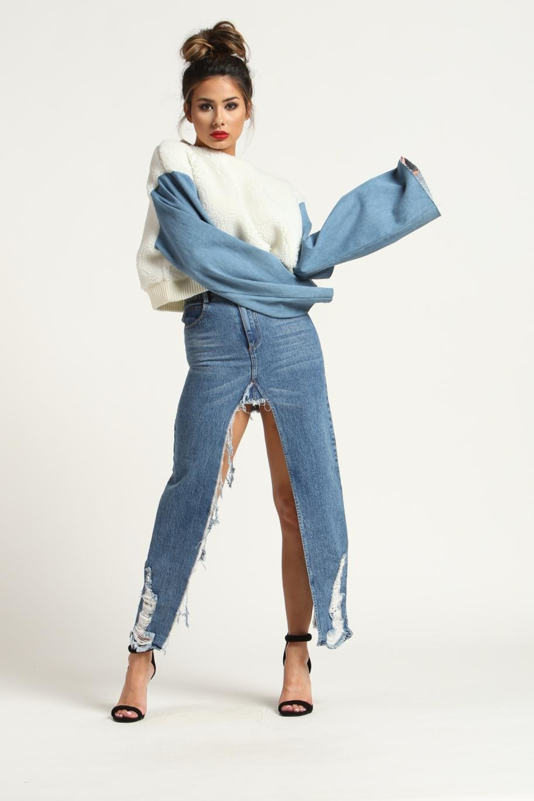 Rehab Denim Sleeve Sweater - Main Image