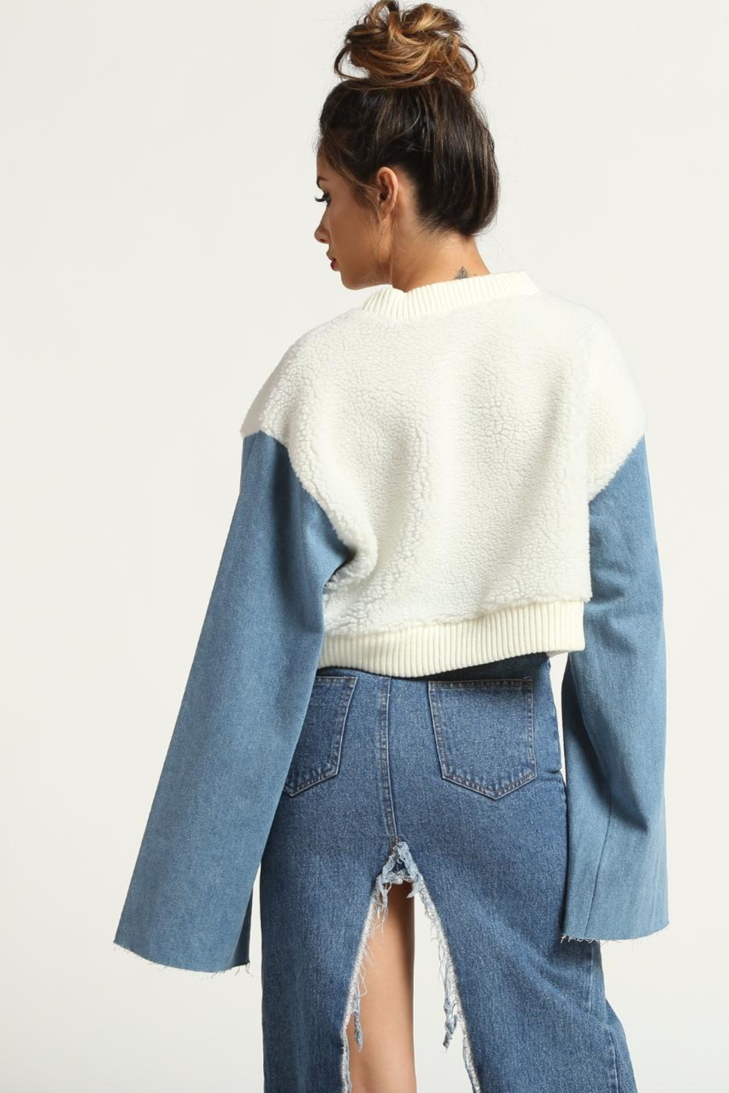Rehab Denim Sleeve Sweater - Front Full Image