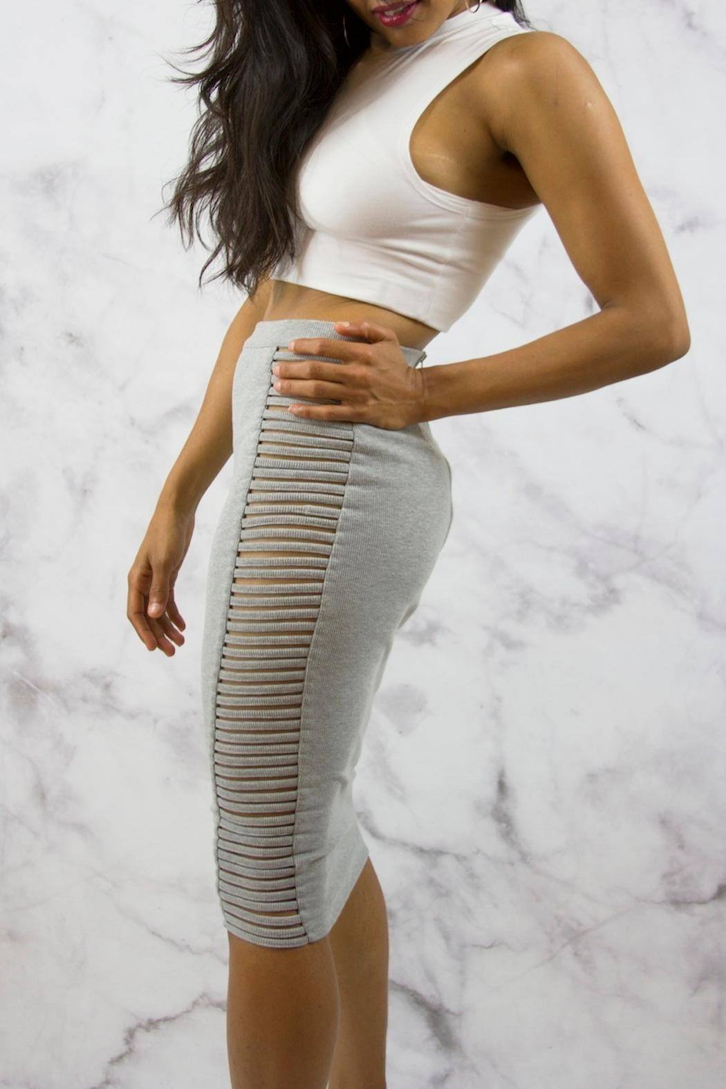 Rehab Grey Midi Skirt - Side Cropped Image