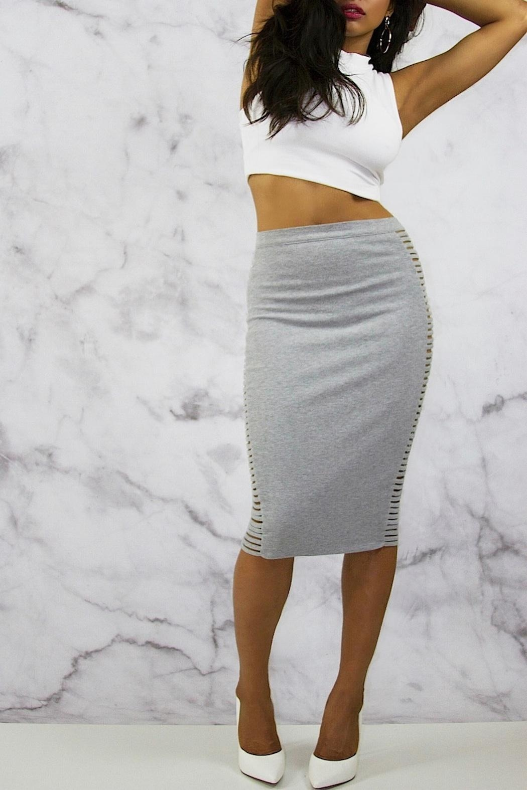 Rehab Grey Midi Skirt - Back Cropped Image