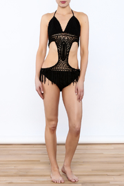 Rehab Black Crochet Monokini - Front full body